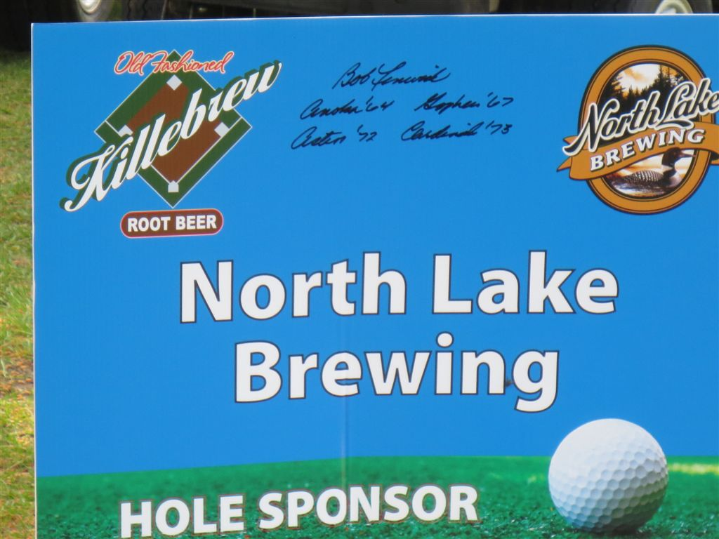 Hole sponsor sign - autographed by Bob Fenwick (former MLB Baseball player from Anoka, MN).